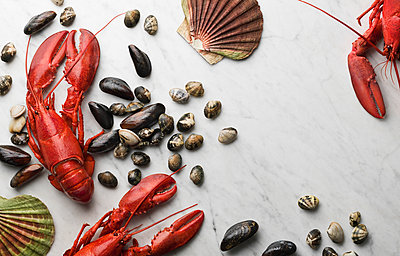 Seafood on white background - p312m894901f by Johner