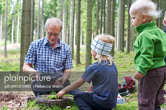 Grandfather and grandsons in forest - p312m1210891 by Rebecca Wallin