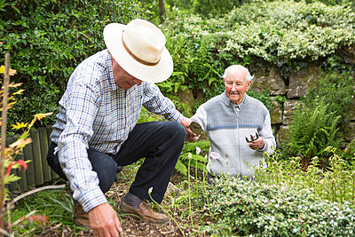 Two senior men in garden - p1026m1164165 by Patrick Frost
