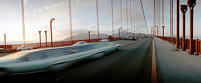 Cars crossing Golden Gate Bridge, California, USA - p3012180f by fStop