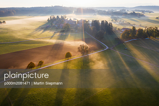 Germany, Bavaria, Ried near Dietramszell, ground fog at sunrise, drone view - p300m2081471 by Martin Siepmann