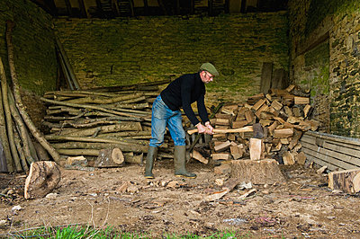 A man chopping wood with an axe, a pile of logs and chopped wood. - p1100m993384f by Mint Images