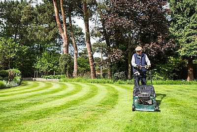 Senior man mowing lawn in garden - p1026m1164185 by Patrick Frost