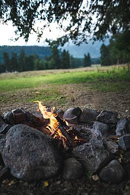 Russia, Caucasus mountains, Bonfire under tree - p1427m2283112 by Oleksii Karamanov