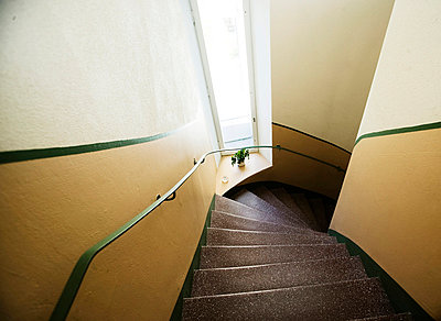 High angle view of modern staircase - p312m696508f by Hasse Bengtsson