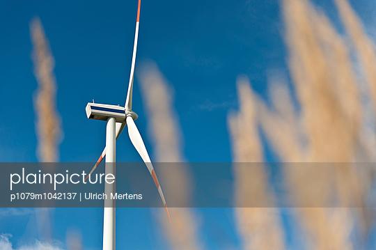 Windkraftanlage in einem Kornfeld - p1079m1042137 von Ulrich Mertens