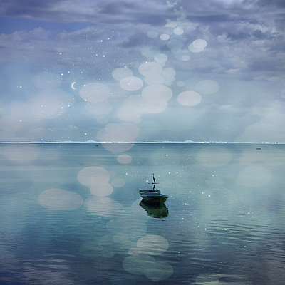 Boat on the sea - p1240m2063326 by Adeline Spengler