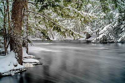 River in winter, Mersey River, Kejimkujik National Park, Nova Scotia, Canada - p884m1356841 by Scott Leslie