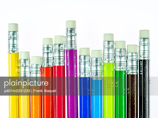 Coloured pencils with eraser - p401m2231233 by Frank Baquet