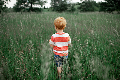 Toddler boy in striped shirt walking into a tall grassy field outdoors - p1166m2148785 by Cavan Images