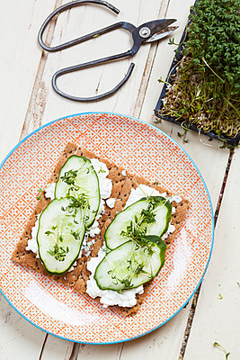 Crispbreads with cottage cheese, cucumber slices and cress - p300m1113445f by Susan Brooks-Dammann