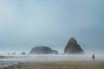 Rear view of woman walking at beach during foggy weather - p1166m969242f by Cavan Images