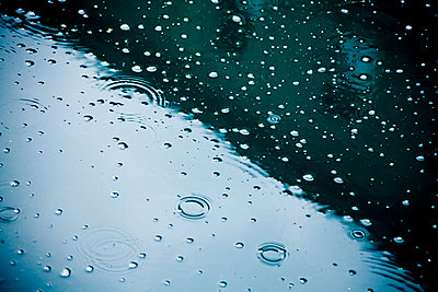 Raindrops falling on puddle, partial view - p300m981816f by Dieter Schewig