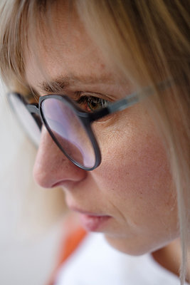 Portrait of woman with glasses - p1363m2071460 by Valery Skurydin