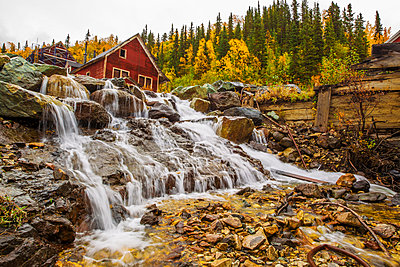 National Creek runs through Kennecott Mine in a series of cascades, Kennecott Mines National Historic Landmark, Southcentral Alaska - p442m1139121 by Zachary Sheldon photography