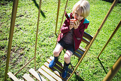 Boy relaxing in swing on a sunny day at garden - p1315m1566370 by Wavebreak