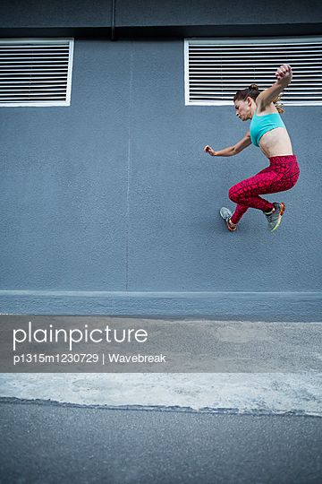 Women practising parkour