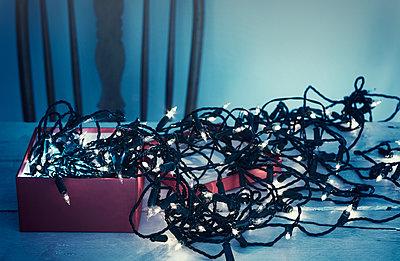 Box Christmas lights tangle messy illuminated - p609m1226552 by WRIGHT