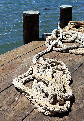 Rope on a pier - p0452848 by Jasmin Sander