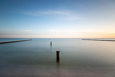 Groyne on coast of Baltic Sea at dawn - p300m2220519 by Anke Scheibe