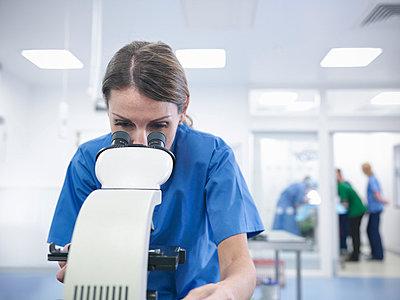Veterinarian using microscope in office - p429m747035f by Monty Rakusen