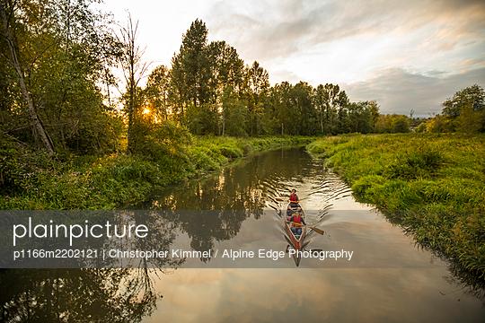 Canoeing in Still Creek, Burnaby,  British Columbia. - p1166m2202121 by Christopher Kimmel / Alpine Edge Photography