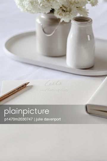 Still life - list making - p1470m2030747 by julie davenport