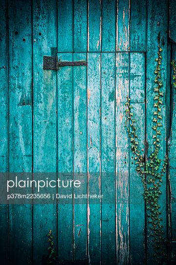 Blue garage door - p378m2235656 by David Lichtneker
