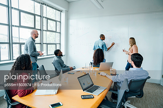 Business people using whiteboard in meeting - p555m1503974 by FS Productions