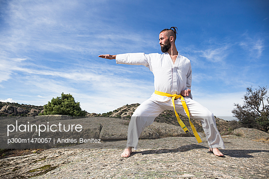 Man doing martial arts poses on a rock
