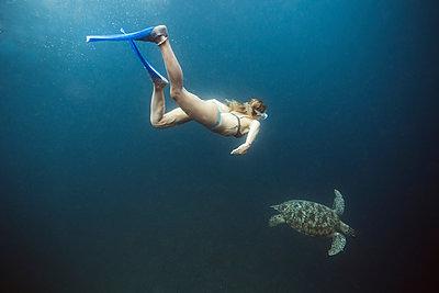 Indonesia, Bali, Underwater view of female diver swimmingalongside lone turtle - p300m2199161 by Konstantin Trubavin