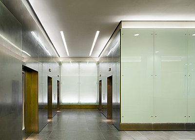 Lobby of building at No.1 New York Street, Manchester, Greater Manchester. - p855m664502 by Daniel Hopkinson