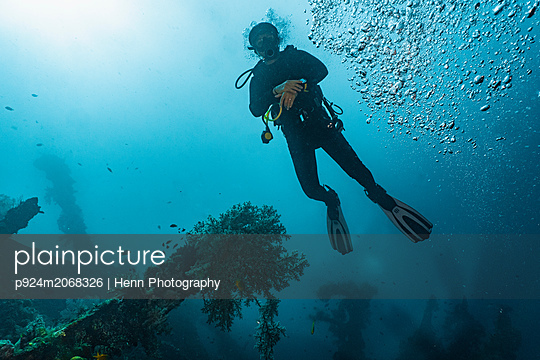 Scuba diver at wreck of USAT Liberty, Tulamben, Bali, Indonesia - p924m2068326 by Henn Photography