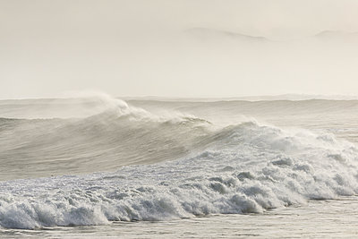 Large surf with morning sea mist. - p1201m1564932 by Paul Abbitt