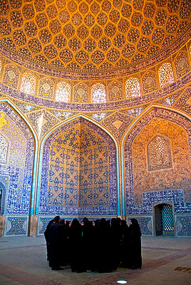 Group of local women visit the Masjid-i Sheikh Lotfallah Mosque, Esfahan, Iran - p3437924 by Guillem Lopez