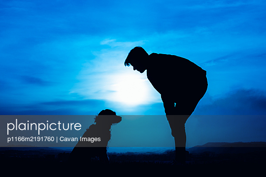 silhouette of a young man with his dog in blue night light - p1166m2191760 by Cavan Images