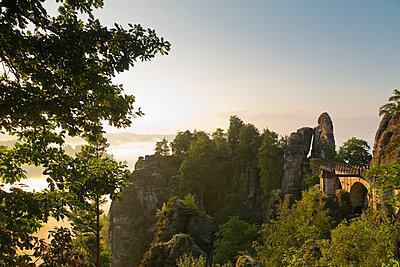 Germany, Saxony, Elbe Sandstone Mountains, view to Bastei Bridge - p300m950025f by Mel Stuart