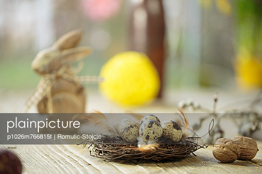 Easter Decoration, Quail Eggs In Easter Basket, Osijek, Croatia, Europe