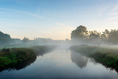 River Mark in early morning mist, Netherlands - p429m2058262 by Mischa Keijser