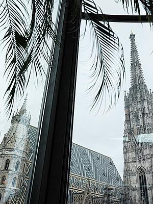 Blick durch ein Fenster auf den Wiener Stephansdom - p1383m2100704 von Wolfgang Steiner