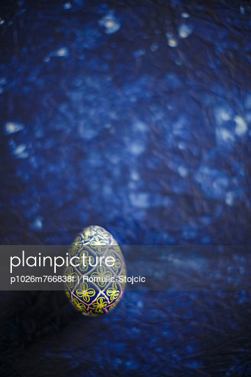 Easter Egg On Blue Background