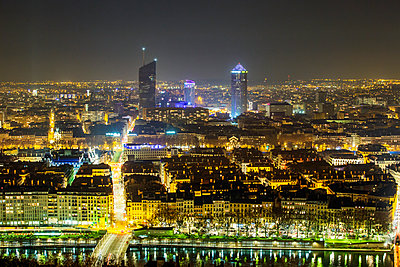 Town of Lyon at night - p910m1467720 by Philippe Lesprit