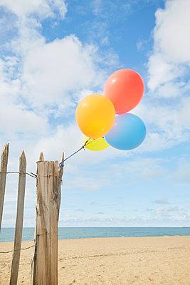 Luftballons am Zaun - p464m1573997 von Elektrons 08
