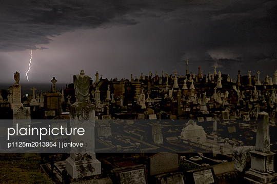 Night lightning over cemetery headstones - p1125m2013964 by jonlove