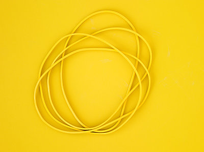 Yellow rubber bands - p1614m2206442 by James Godman