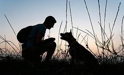 Silhouette man with his dog on grassy field at dawn - p300m2206656 by Ezequiel Giménez