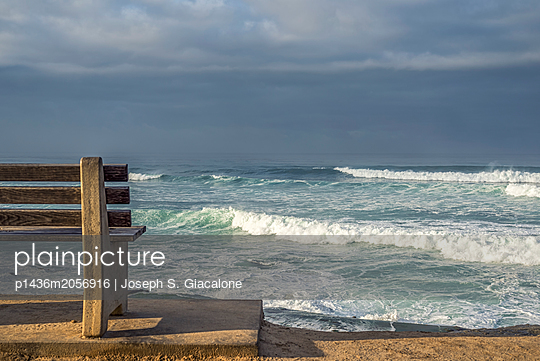 Winter surf viewed from above Windansea Beach - p1436m2056916 by Joseph S. Giacalone