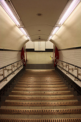 Looking down steps in the Northern Line tube station in London - p3313098 by Gail Symes