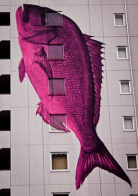 Fish mural on an apartment block in Tokyo, Japan. - p934m1177412 by Dominic Blewett