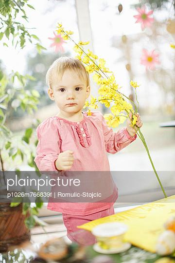 Little Girl Holding Easter Flower, Osijek, Croatia, Euope